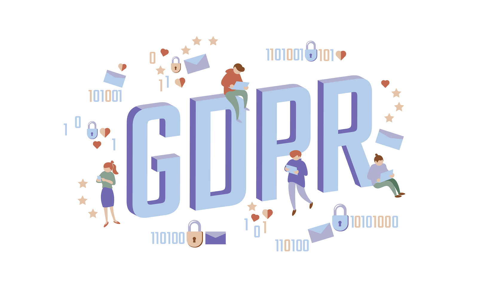 GDPR law isometric people concept. Small men Big letters flat 3D like padlock general data protect regulation security. Pastel color privacy personal information safety vector illustration art
